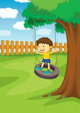 Boy on a swing Stock Image