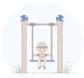 Boy on the swing Stock Photo