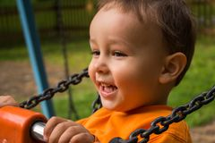 Boy on swing smiling closeup royalty free stock image