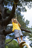 Boy (9-11) on swing, smiling, portrait, low angle view Stock Photo