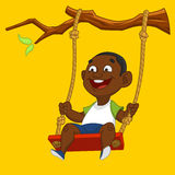 Boy on a swing. Vector illustration Stock Images