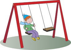 Boy on a swing. Vector Illustration of boy on a swing Stock Images