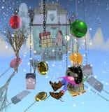 Boy on swing in winter royalty free illustration