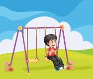 A boy swinging alone. Illustration of a boy swinging alone Royalty Free Stock Photos