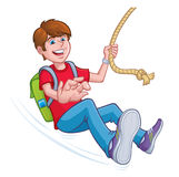 Boy Swinging On A Rope with A Backpack Stock Images