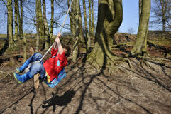 Boy swinging in the trees Royalty Free Stock Photos