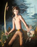 A boy with a sword. The boy with the sword children artwork Royalty Free Stock Images