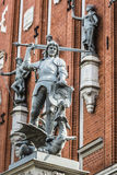 Boy with the sword and dragon; an architectural detail of the Ho Royalty Free Stock Photos