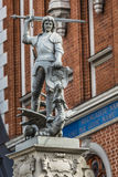 Boy with the sword and dragon; an architectural detail of the Ho Stock Photography