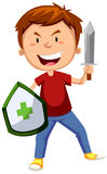 Boy with sword and sheild Stock Image
