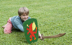 Boy sword shield grass Royalty Free Stock Photos