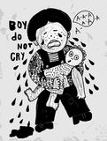 Boy. The symbolic image of a crying boy with a doll Royalty Free Stock Photography