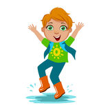 Boy In T-Shirt And Rubber Boots, Kid In Autumn Clothes In Fall Season Enjoyingn Rain And Rainy Weather, Splashes And vector illustration