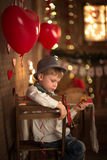 Boy  table in cafe, concept valentines day, background, Royalty Free Stock Image
