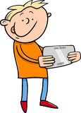 Boy with tablet cartoon illustration Stock Photography