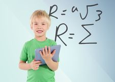 Boy with tablet and formula. Digital composite of Boy with tablet and formula royalty free stock photos