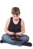 Boy with a Tablet PC Stock Images