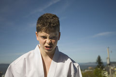Boy in Taekwondo suit stock photos
