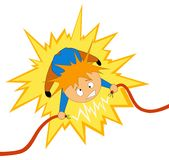 Boy take the electrician shock on the wire. Vector illustration. Cartoon boy take the electrician shock on the wire Royalty Free Stock Photography