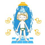 Boy takes a shower color vector drawing. Stock Images