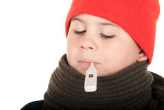 Boy takes temperature thermometer Royalty Free Stock Photos