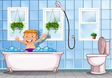 Boy taking a bath in bathroom stock illustration