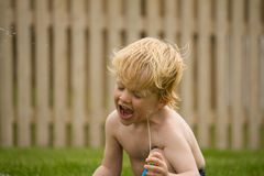 Boy taking a drink from sprinkler. Little boy playing with sprinkler & taking a drink Royalty Free Stock Images