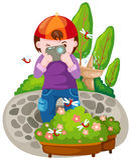Boy taking a photo vector illustration