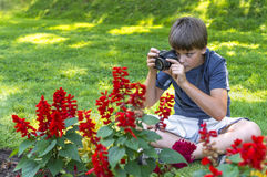 Boy taking photos outdoor Stock Photos