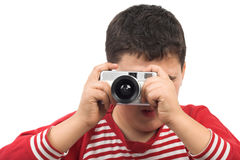 Boy taking picture Stock Photos