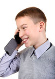 Boy talking on Cellphone. Happy Boy Talking on Cellphone Isolated on the White Background Stock Photos