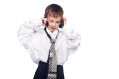 Boy talking on mobile phone Stock Image