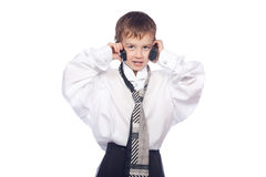 Boy talking on mobile phone Stock Images