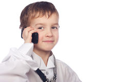 Boy talking on mobile phone Royalty Free Stock Image