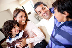 Boy talking to his family Royalty Free Stock Images