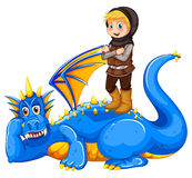 A boy taming the dragon. On a white background Royalty Free Stock Photography