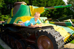 Boy on the tank Stock Image