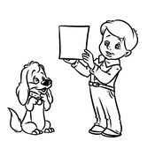 Boy teaches dog puppy coloring pages Royalty Free Stock Image