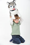 boy with a teddy dog Stock Photos