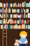 Boy and teddy at library Royalty Free Stock Images