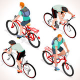 Boy Teen Cycling Isometric People Stock Images