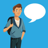 Boy teen rucksack student with bubble speech Royalty Free Stock Image