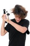 Boy Teen Throwing Bass Guitar Stock Images