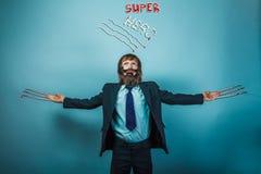 Boy teenage superhero beard with razor blade and Stock Photo