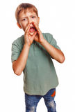 Boy teenager calling kids cries shouts opened his Royalty Free Stock Photos