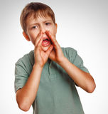 Boy teenager calling kids cries shouts opened his Stock Images