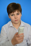 Boy teenager dials the number on  radiotelephone Stock Images