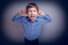 Boy teenager European appearance brown grimaces Royalty Free Stock Photography