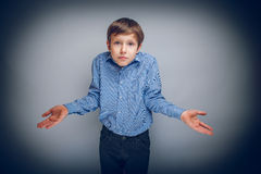 Boy teenager of European appearance brown hair Stock Photo
