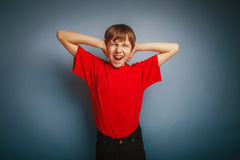 Boy teenager European appearance in a red shirt Stock Photos